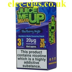 a box of Juice Me Up: Blackberry Mojito Flavour E-Juice