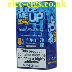 a box of Juice Me Up: Blue Raspberry Ice Lolly Flavour E-Juice