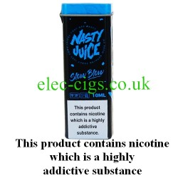 Slow Blow 10 ML E-Juice by Nasty Juice showing the novelty box