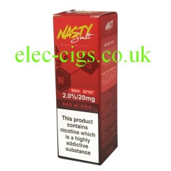 a box of Bad Blood High Nicotine E-Liquid by Nasty Juice