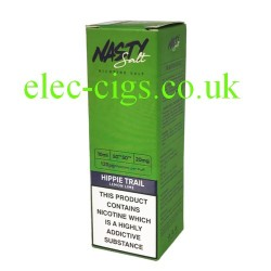 a box of Hippie Trail High Nicotine E-Liquid by Nasty Juice