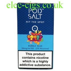 a box of Bubble Blue (Candy Rush) High Nicotine E-Liquid by Pod-Salt