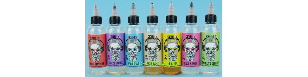 some of the range of Skully 80 ML Zero Nicotine E-Juice