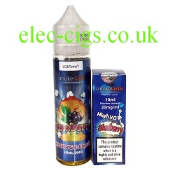 a bottle of Blueberry 50 ML E-Liquid plus Nicotine shot from Smoketastic