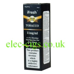three packs of Tobacco e-liquid by ifresh, showing the three different strengths available