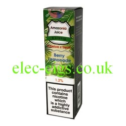 This shows the box containing Amazonia 10 ML Berry Lemonade Flavour E-Liquid