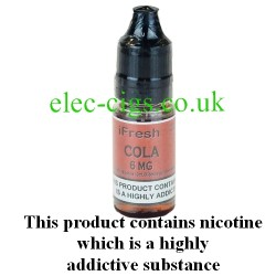 Cola e-liquid by ifresh UK, showing the three different strengths available
