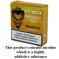 a box of Dragons Gold E-Juice by Underworld Vapes
