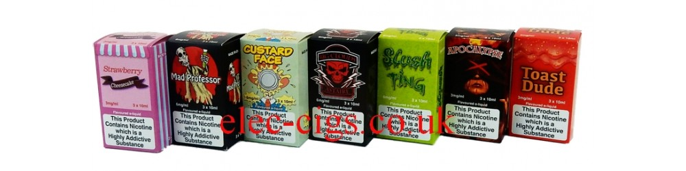 image shows some of the flavours available in the range VG Vapour 80-20 (VG/PG) E-Juice