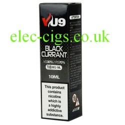 a box of Blackcurrant E-Liquid 10 ML from VU9