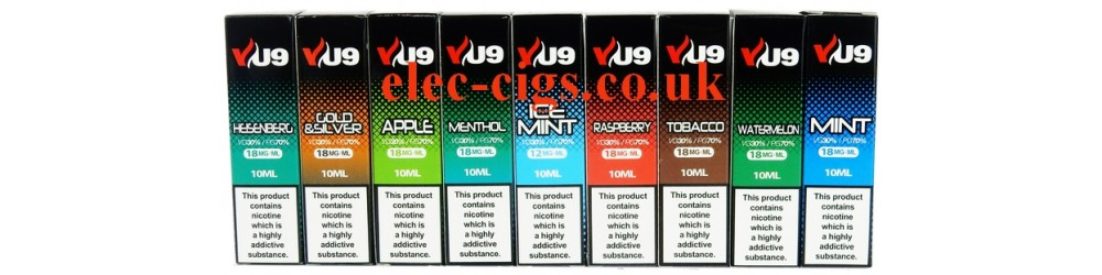 some of the flavours available in the VU9 10 ML E-Liquids from Vapour Universe