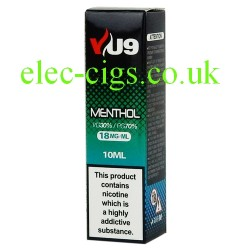 a box of Menthol E-Liquid 10 ML from VU9