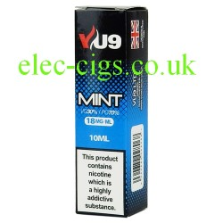a box of Mint E-Liquid 10 ML from VU9