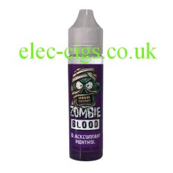 a bottle of 50 ML Blackcurrant Menthol E-Liquid from Zombie Blood