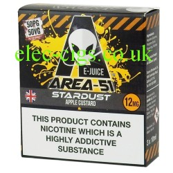 Area 51: Stardust E-Juice  on a black background with black and amber diagonal stripes top and bottom