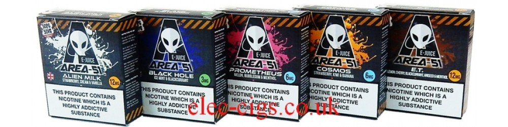 Area 51 E-Juice 30 ml (3 x10 ML) showing some of the flavours
