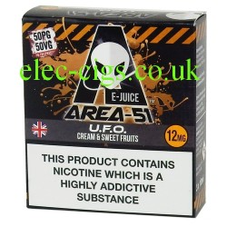 Area 51: UFO E-Juice 3 x 10 ML  on a black background with black and amber diagonal stripes top and bottom