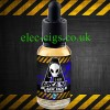 Area 51 Black Hole E-Juice on a black background with black and amber diagonal stripes top and bottom