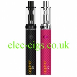 showing the 2 colours available in the Aspire K3 Quick Start Kit