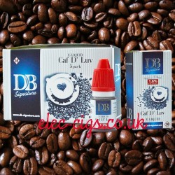 picture shows the five pack of Caf D' Luv e-liquid by DB-Signature and a single box and bottle