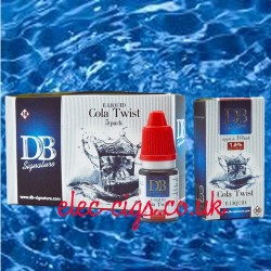 picture shows the five pack of Cola Twist e-liquid by DB-Signature and a single box and bottle