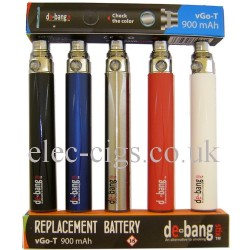 picture shows 650mAh EGO T  batteries with a box at the top and underneath. 5 different colours available in this debang battery