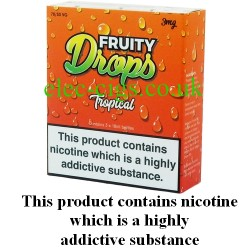 the box of Tropical E-Juice by Fruity Drops