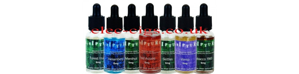showing seven different bottles of Scripture 30 ML 50-50 E-liquid