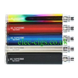 Showing the 5 colours available in the HS VapourMX 1300 Spinner Battery range