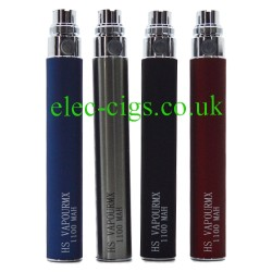 HS Vapour MX 1100 mAh batteries for e-cigarette in Silver, Black, White and  Blue