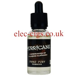 a bottle of Frost Fury 80/20 E-Liquid by Hurricane Vapour