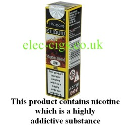 showing three bottles and boxes in three different strengths of Golden VI ELiquid by iVapore