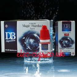 picture shows the five pack of Magic Stardust e-liquid by DB-Signature and a single box and bottle