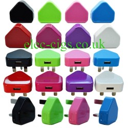 mains chargers showing the eight colours available