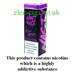 ASAP Grape 10 ML E-Juice by Nasty Juice showing the novelty box and 50ml food grade aluminium container