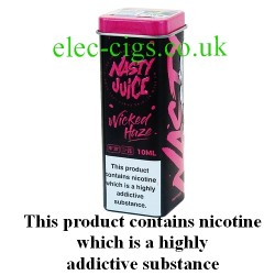 Wicked Haze 10 ML E-Juice by Nasty Juice showing the novelty box and 50ml food grade aluminium container