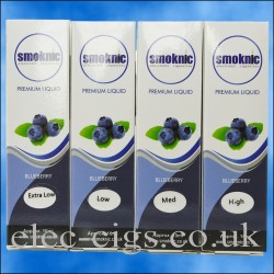 4 boxes of Blueberry E-Liquid by Smoknic showing the four different nicotine strengths on blue background