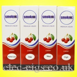 4 boxes of Cherry E-Liquid by Smoknic showing the four different nicotine strengths on yellow background