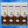 4 boxes of Coconut Milk E-Liquid by Smoknic showing the four different nicotine strengths on blue background