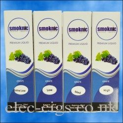 4 boxes of grape E-Liquid by Smoknic showing the four different nicotine strengths on blue background