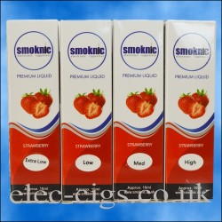 4 boxes of Strawberry E-Liquid by Smoknic showing the four different nicotine strengths on blue background