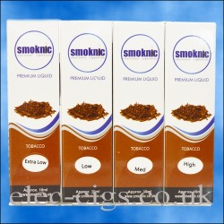 4 boxes of Tobacco E-Liquid by Smoknic showing the four different nicotine strengths on blue background