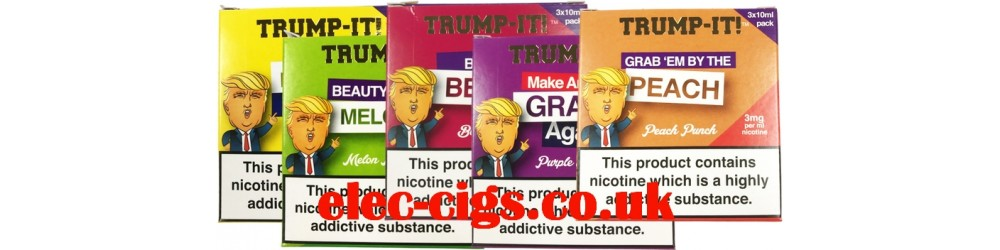 Trump-it! E-Juice showing all the flavours available.