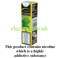 showing three bottles and boxes in three different strengths of Menthol ELiquid by iVapore
