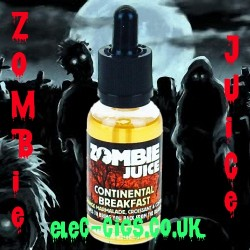 a scene with a horror backdrop showing a bottle of Continental Breakfast Zombie Juice