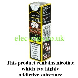 showing three bottles and boxes in three different strengths of Black Jack ELiquid by iVapore