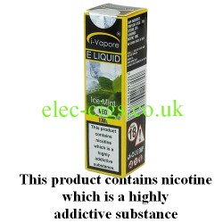 showing a bottle and boxe of Mint E-Liquid by iVapore